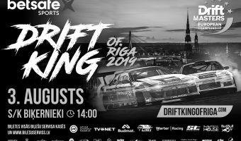 """Lielākā Eiropas drifta seriāla posms """"DMEC Betsafe King of Riga"""" Latvijā - 3.augustā"""